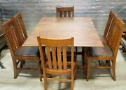 Vintage Drop Leaf Dining Set-table 2 Leaves 6 Chairs Antique 1929 Badger Chair