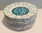 Antique German Schramberg, Villeroy And Boch Majolica Gnome Series Set Of 10plates