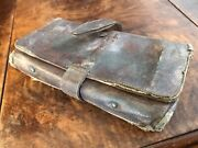 """Antique Leather Fly Fishing Lure Tackle Box Pouch Case W/hand Tied Flies 7.5"""""""