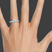 H/si2 Round Cut Diamond Engagement Ring 2.00 Ct 14k White Gold Womenand039s