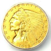 1913 Indian Gold Quarter Eagle 2.50 Coin - Certified Icg Ms60 Details Unc Ms
