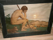 Antique German Pastoral Lithography Spring Nude Shepherd Sheep Dog Scene 1880and039s