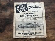 Vintage John Deere Tractor Directions Operating Instructions Side Delivery Rakes