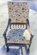 Large Antique Edwardian Early 20th C. Carved Wood Floral Upholstered Arm Chair