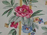 Vintage 1940's Cotton Barkcloth Hot Pink Flowers Perfect For Pillows Fabric 19