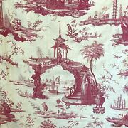 Antique French Toile De Jouy Pagoda Chinoiseries Chinoiserie Textile Rare