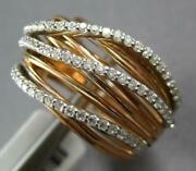 Large .64ct Diamond 14k White And Rose Gold Multi Row Criss Cross Triple Wave Ring