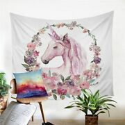 Floral Wreath Unicorn Wall Tapestry Hanging Throw Cover Home Room Decoration