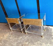 Magnificent Pair Of Hollywood Regency Lucite, Brass And Mirror Nightstands