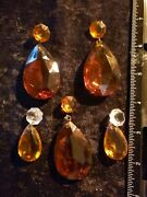 Lot Of 10 Combined Assorted Vintage Amber And Clear Glass Chandelier Prisms