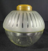 Rare 1880's Parker Ribbed Embossed And Frosted Kerosene Oil Font For Hanging Lamp