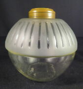 Rare 1880and039s Parker Ribbed Embossed And Frosted Kerosene Oil Font For Hanging Lamp