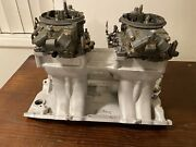 Vintage Big Block Chevy Edelbrock Ur2x Tunnel Ram With 2 830 Holley Carbs