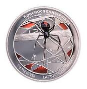 Tuvalu 2011 1 Deadly And Dangerous Red Back Spider Russian Ver 1oz Silver Coin