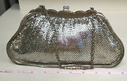 Vintage Whiting And Davis Silver Mesh Evening Bag Purse Classic 2911 Scallop Edges