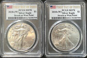 2 Beautiful Silver Eagles 2018 Ms70 Fdoi Struck At West Point Spotless