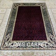 Yilong 4and039x6and039 Purple Handknotted Silk Carpet Home Interior Classic Rug H298b