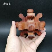 Red Rosewood Puzzle Chinese Plum Blossom Structure Wooden Kong Ming Lock Toy