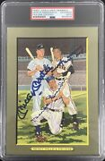 Mickey Mantle Signed Perez Steele Great Moments Card Mays Snider Auto Psa/dna
