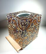 Beautiful Decoupage Wood Tissue Box Cover With Bottom Marble Paper Gold Blue Hig