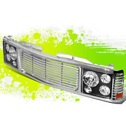 2x Black Headlight+chrome Fence Rover Grille For Chevy/gmc C/k 1500-3500 94-00