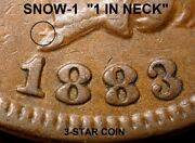 1883 Indian Head Cent - Vf+++ Snow-1 1 In Neck 3-star Coin Scarce K783