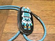 Beverly Etsate Zuni Kachina Sterling Silver Multi Color/stone Inlay Bolo Tie