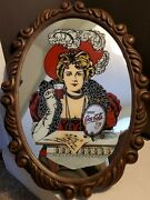 Vintage 1960and039s Oval Drink Coca Cola 5 Cent Coke Plastic Faux Wood Framed Mirror