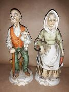 Pair Inarco Japan Old Man Woman Painted Biscuit Porcelain Figurines E3429
