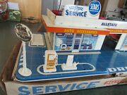 Original Vintage Marx Sears Allstate Service Gas Station Tin Toy Playset And Box