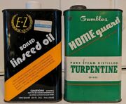 Vntg Gambles Home Guard Turpentine-ez Boiled Linseed Oil Quart Metal Cans