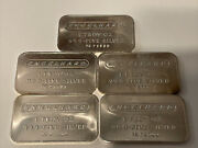 Lot Of 5 Engelhard .999 Silver 1 Troy Oz Bars Stamped Andldquopcandrdquo Consecutive Numbers