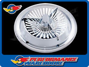15 Inch Polara Tri-bar Hubcap, Chrome With White Painted Inserts, Set Of 4
