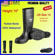 Best Mens Work Rubber Boots Fishing Hunting Black Pvc 15in Mud Dirt Tall Size 13