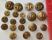 20 - Us Navy Vintage Antique Brass Metal Waterbury Anchor Rope Buttons Lot