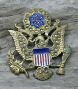 Us Army Wwii Large Eagle Pin Brass And Enamel Flag Officer's Hat Device/rare -j36