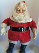 Large Christmas Santa Claus Doll Stuffed Rubber Face Vintage 50s