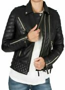 Kay Michaels Diamond Quilted Black Women's Slim Fit Real Leather Jacket
