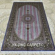 Yilong 4and039x6and039 Handmade Silk Carpet Purple Striped Oriental Home Area Rugs Z232a