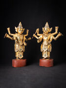 Special Antique Pair Of Burmese Nat Statues From Burma 19th Century