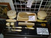 Vintage 20 Piece Ladies Vanity Set Celluloid Tray Hand Mirror Comb Brush And More