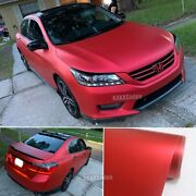 Entire Car Wrapping Paint Satin Matte Steel Chrome Vinyl Sticker Flexible Red Us