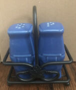 Longaberger Pottery Cornflower Blue Salt And Pepper Shakers With Wi Caddy