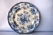 Antique Blue Willow Transferware Plate By Improved Stone Ware Persian Rose Wb F