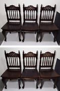 Set Of 6 Vintage Gothic Victorian Style Wood Dining Chairs Cabriole Legs
