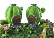 Fairy Garden Starter Kit Cactus House Turtles Moss Sign Fence Flowers 11 Pieces