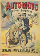 Original Vintage Poster Automoto Bicycle Tricycle French 1905