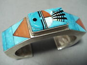 Very Rare Large 7and039 Wrist Vintage Navajo Turquoise Sterling Silver Bracelet