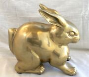 Large And Heavy Vintage Brass Bunny Rabbit Sculpture Figure, 14 Lbs