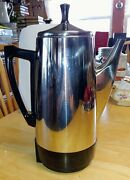 Vintage Presto 12 Cup Stainless Steel Electric Coffee Percolator Model 0281105